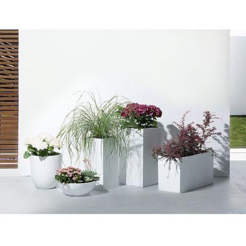 Beliani Doniczka biała - ogrodowa - balkonowa - ozdobna - 100x40x50 cm - orta