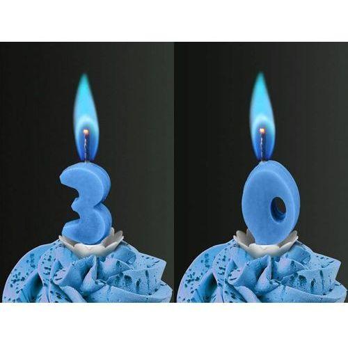 Świeczki cyferki z niebieskim płomieniem - 30 - trzydziestka - 2 szt.