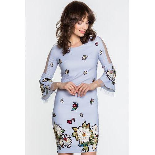 Bladoniebieska sukienka w kwiaty - Margo Collection, 1 rozmiar