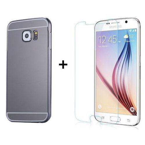 Zestaw   Mirror Bumper Metal Case Szary + Szkło ochronne Perfect Glass   Etui dla Samsung Galaxy S6, kolor szary