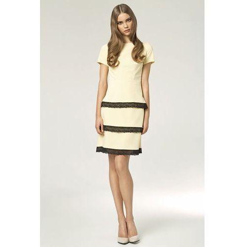 Sukienka z koronkami - żółty - S43