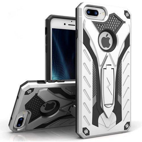 static cover - pancerne etui iphone 7 plus z podstawką (srebrny/czarny) marki Zizo
