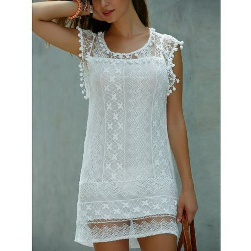 Sleeveless Lace Shift Mini Dress
