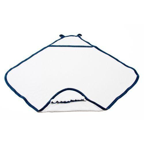 Poofi Ręcznik bambusowy z kapturkiem - biały - granatowa lamówka - (5902052851997)