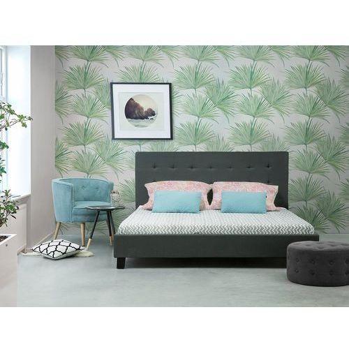Łóżko ciemnoszare - 160x200 cm - łóżko tapicerowane - stelaż - la rochelle marki Beliani