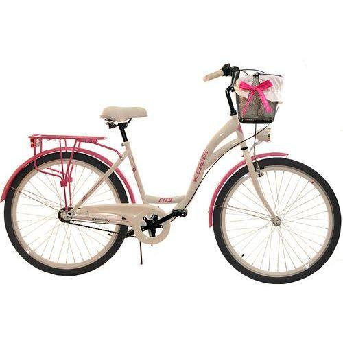 KOZBIKE (26K19-S3) Rower miejski damski 26 Kozbike biało-różowy (2 wkładki do wyboru)