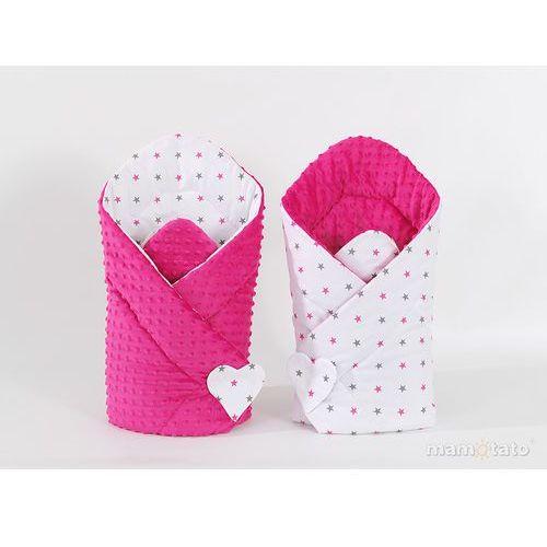 Mamo-tato zabawka dwustronny rożek minky dla lalek gwiazdki szare i różowe / fuksja