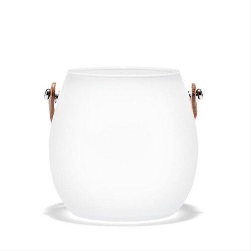 Szklana doniczka ze skórzanym uchwytem M, biała - HolmeGaard