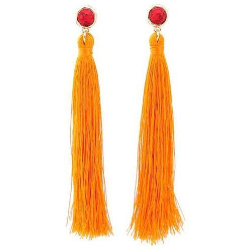 Kolczyki frędzle i marmurkowy sztyft pomarańczowe - POMARAŃCZOWE