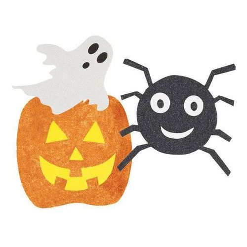 Brokatowa dekoracja Duch, pająk i dynia na Halloween - 6 szt. p