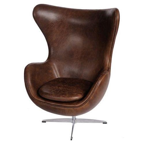Fotel Jajo brązowy ciemny vintage Premium, kolor brązowy