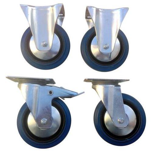 Zestaw kół fi 100 mm 4 szt. płytka, 500 KG STAŁE I hamulec, niebieski kauczuk MOCNE