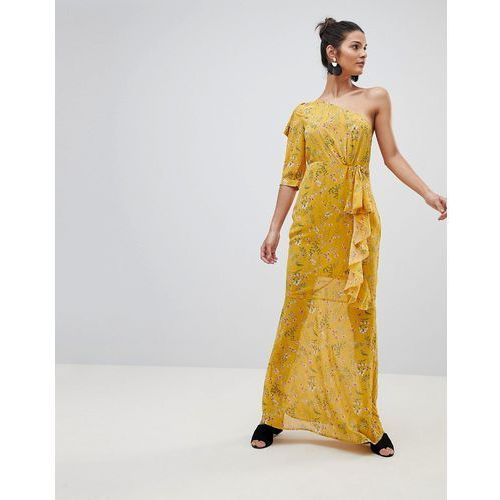 Prettylittlething one shoulder floral maxi dress - yellow