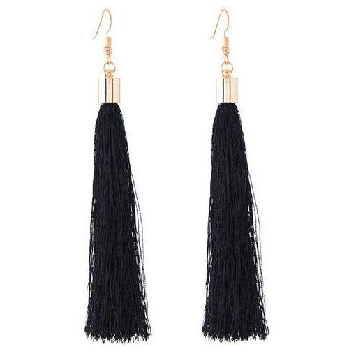 Cloe Kolczyki długie wiszące frędzle chwost czarne - czarne