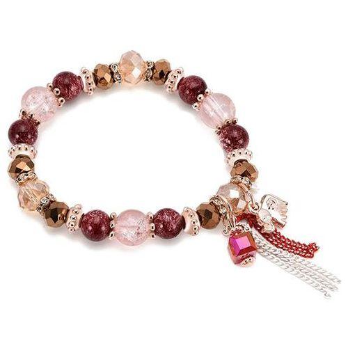 Bransoletka damska koraliki róż burgund - BURGUND, kolor różowy