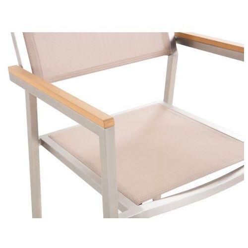 Meble ogrodowe beżowe - krzesło ogrodowe - balkonowe - tarasowe - GROSSETO