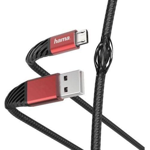 Kabel Micro USB - USB HAMA Extreme 1.5 m Czarno-czerwony (4047443424891)