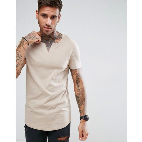 ASOS Longline Muscle Fit T-Shirt With Notch Neck And Curved Hem - Beige