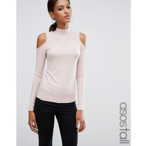 ASOS TALL Top with Cold Shoulder and High Neck in Clean Rib - Pink