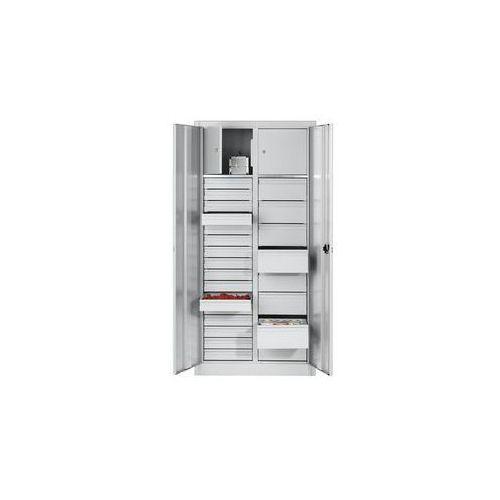 Szafka na materiały z blachy stalowej,2 półki, 24 szuflady, 2 schowki marki C+p möbelsysteme