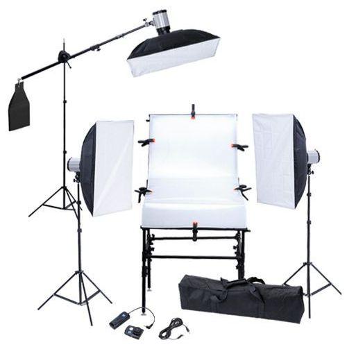 Vidaxl  zestaw studio: stół, 3 softboksy, statywy i głowice lampy