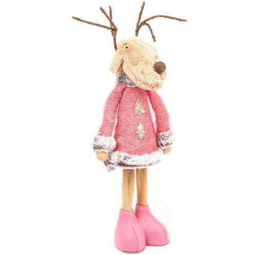 Świąteczna dekoracja tekstylna Pink Reindeer Boy, 60 cm