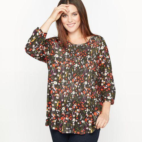 Castaluna T-shirt z kwiecistym nadrukiem i ozdobnymi przymarszczeniami