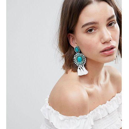 Glamorous turquoise beaded tassel statement earrings - blue