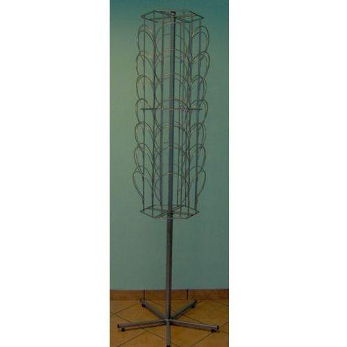 Metalowy, obrotowy, sześcienny stojak na czapki - 42 elementy - w kolorze srebrnym, kolor szary