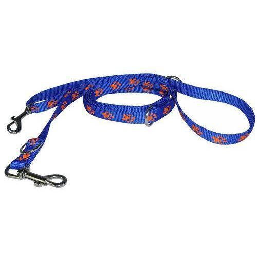 smycz taśmowa regulowana kolor: niebieski w pomarańczowe łapki 16mm / 270cm marki Chaba