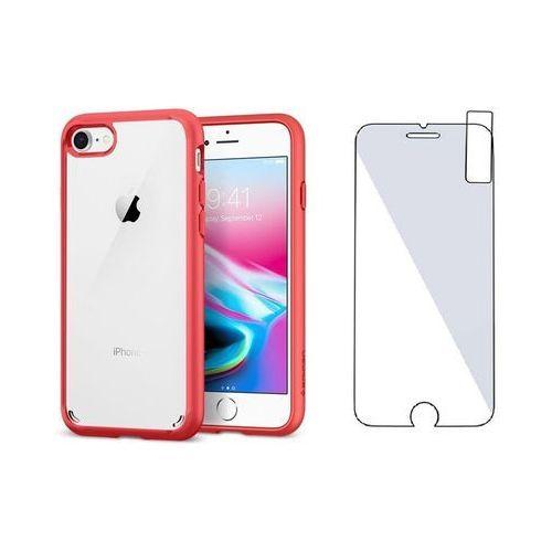 Zestaw | spigen sgp ultra hybrid 2 red | obudowa + szkło ochronne perfect glass dla modelu apple iphone 7 / 8 marki Sgp - spigen / perfect glass