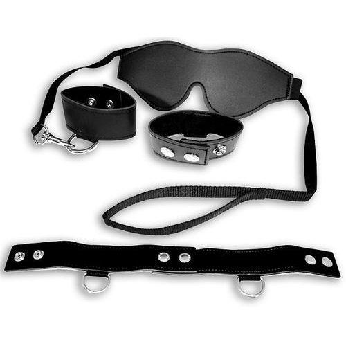 S&m  black bondage kit – zestaw sm z kajdankami i obrożą