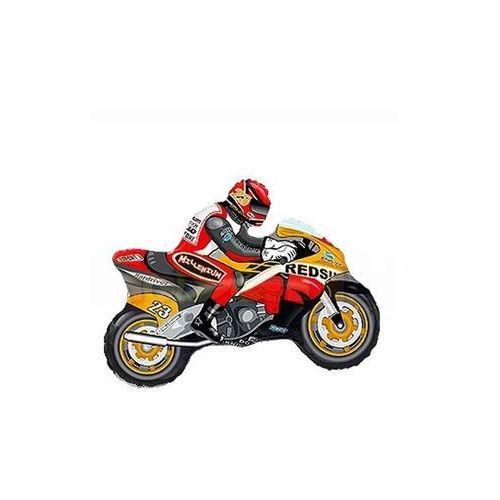 Go Balon foliowy do patyka motocykl pomarańczowo-czerwony - 36 cm - 1 szt.