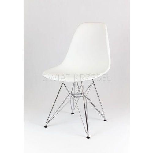 Sk design  kr012 białe krzesło chrom - biały \ metal - chromowany