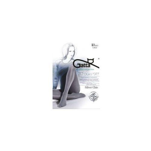 Gatta Rajstopy melanżowe z satynowym połyskiem silver chic 40 den mikrofibra 3d