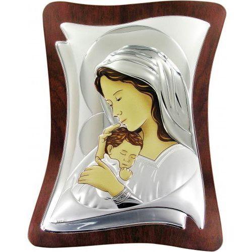 Produkt włoski Srebrny obrazek madonna z dzieciątkiem, srebro pr. 925