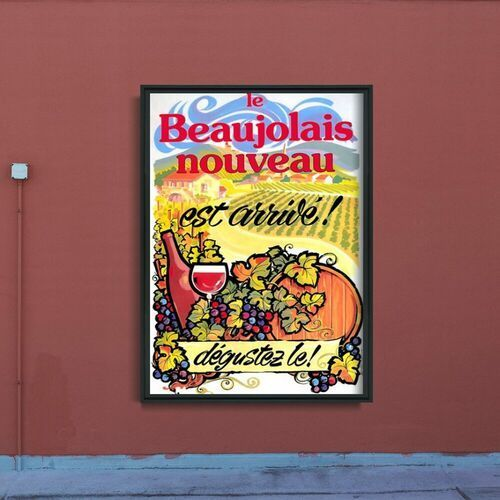 Plakat w stylu retro Plakat w stylu retro Plakat z winem Nowy Beaujolais Nouveau