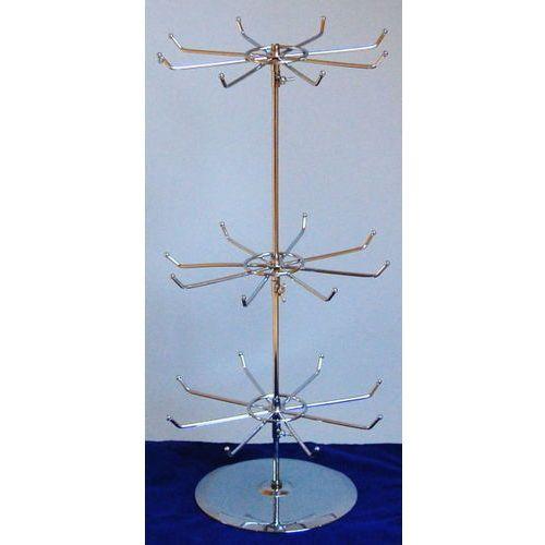 Obrotowy, trzypoziomowy, metalowy stojak do prezentacji np. biżuterii - chromowany, 00902
