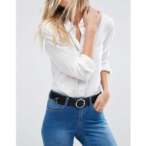 Asos design vegan tipped end circle buckle jeans belt in water based pu - black