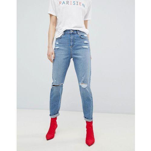 Miss Selfridge High Waist Slim Leg Jeans - Blue, kolor niebieski