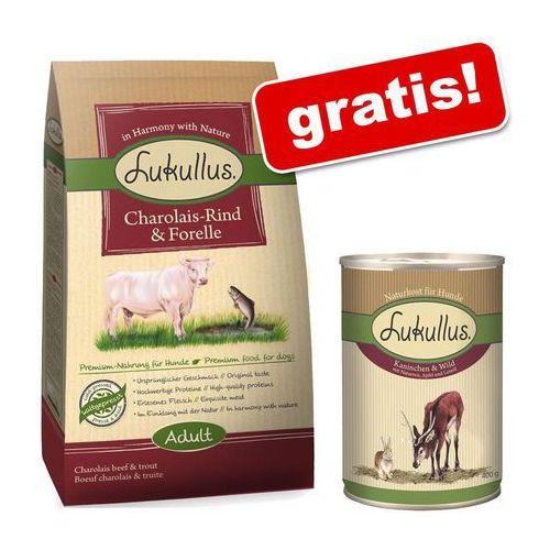 Lukullus 1,5 kg karma dla psa + 1 x 400 g lukullus natural gratis! - adult, wołowina charolaise i pstrąg (4260077048206)