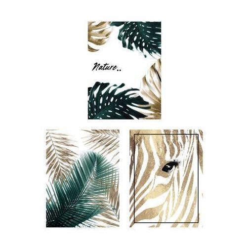 Art canvas Zestaw 3 plakatów złote liście 30 x 40 cm
