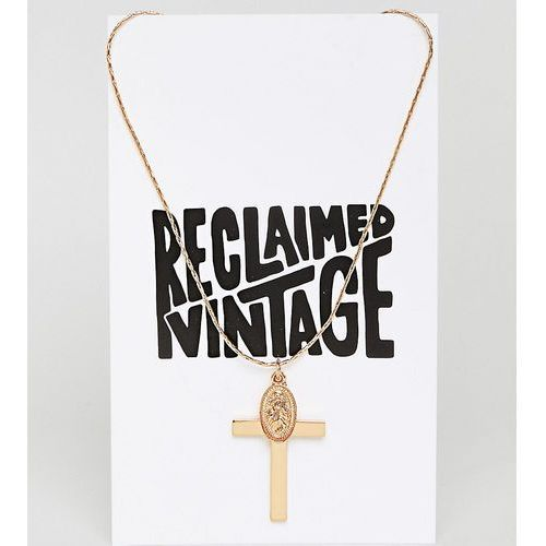 inspired cross and charm pendant necklace (+) - gold marki Reclaimed vintage