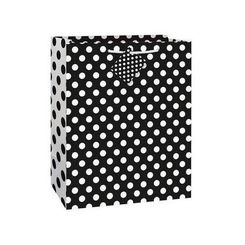Unique Torebka prezentowa czarna w białe kropeczki 27x32 cm - 1 szt.
