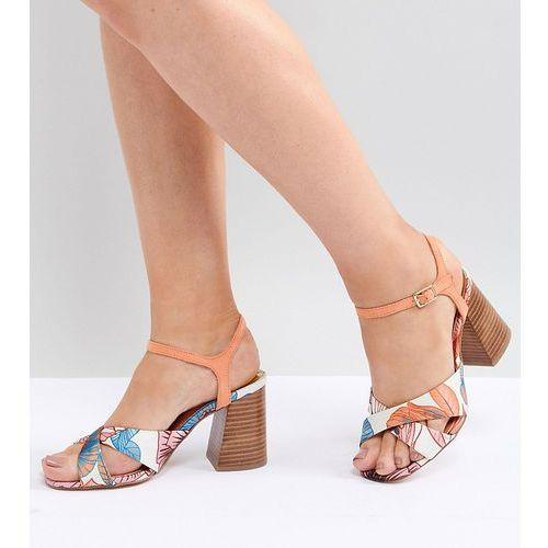wide fit cross front heeled sandals - orange marki River island