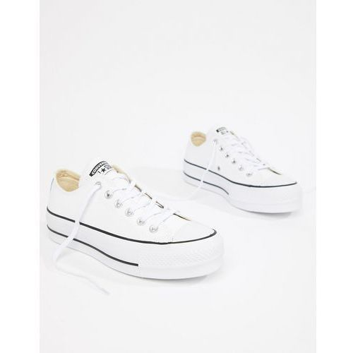 710a21a76 Damskie obuwie sportowe · Converse Chuck Taylor All Star leather platform  low trainers in white - White, kolor biały