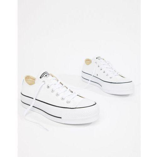 710a21a76 Damskie obuwie sportowe · Converse Chuck Taylor All Star leather platform  low trainers in white - White, kolor biały