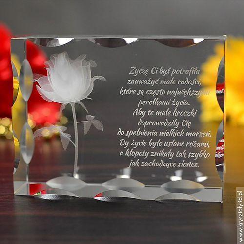 Róża Miłości 3D z Twoją dedykacją ♥ duża, żłobiona statuetka 3D • GRAWER 3D