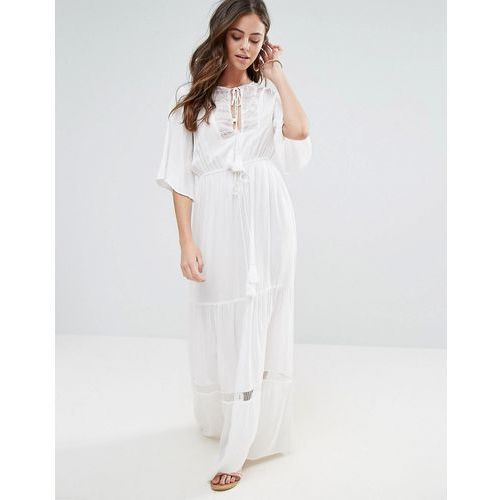 Boohoo lace panel maxi dress - white