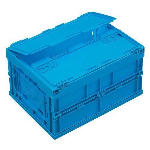 Pojemnik składany z polipropylenu, poj. 22 l, z pokrywą na zawiasach, niebieski.